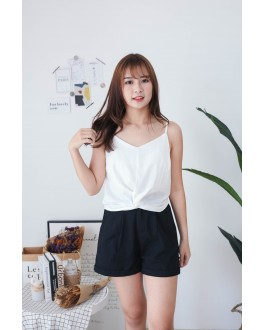 Korea Knot  V Neck Adjustable Strap Sleeveless Top (White)