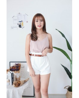 Korea Knot  V Neck Adjustable Strap Sleeveless Top (Nude Pink)