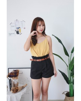 Korea Knot  V Neck Adjustable Strap Sleeveless Top (Mustard)