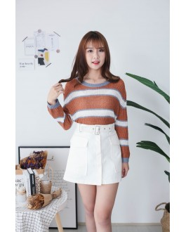 Korea Sweety Color Stripe Long Sleeve Knit Top (Brown)