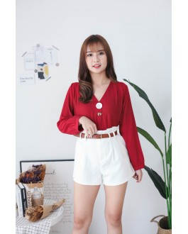 Korea Shell Button V Neck Blouse (Maroon)