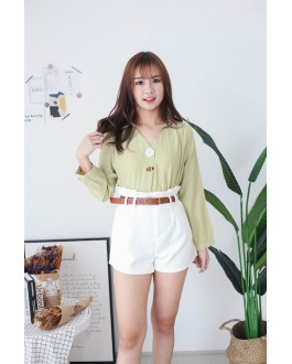 Korea Shell Button V Neck Blouse (Green)