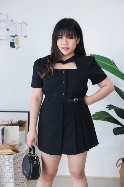 Korea Swag Style Button Front Short Sleeve Top (Black)